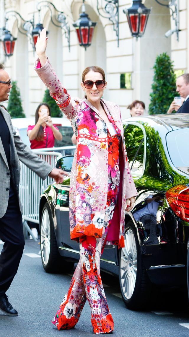 Céline Dion Paris Fashion Week wardrobe: Roberto Cavalli Suit