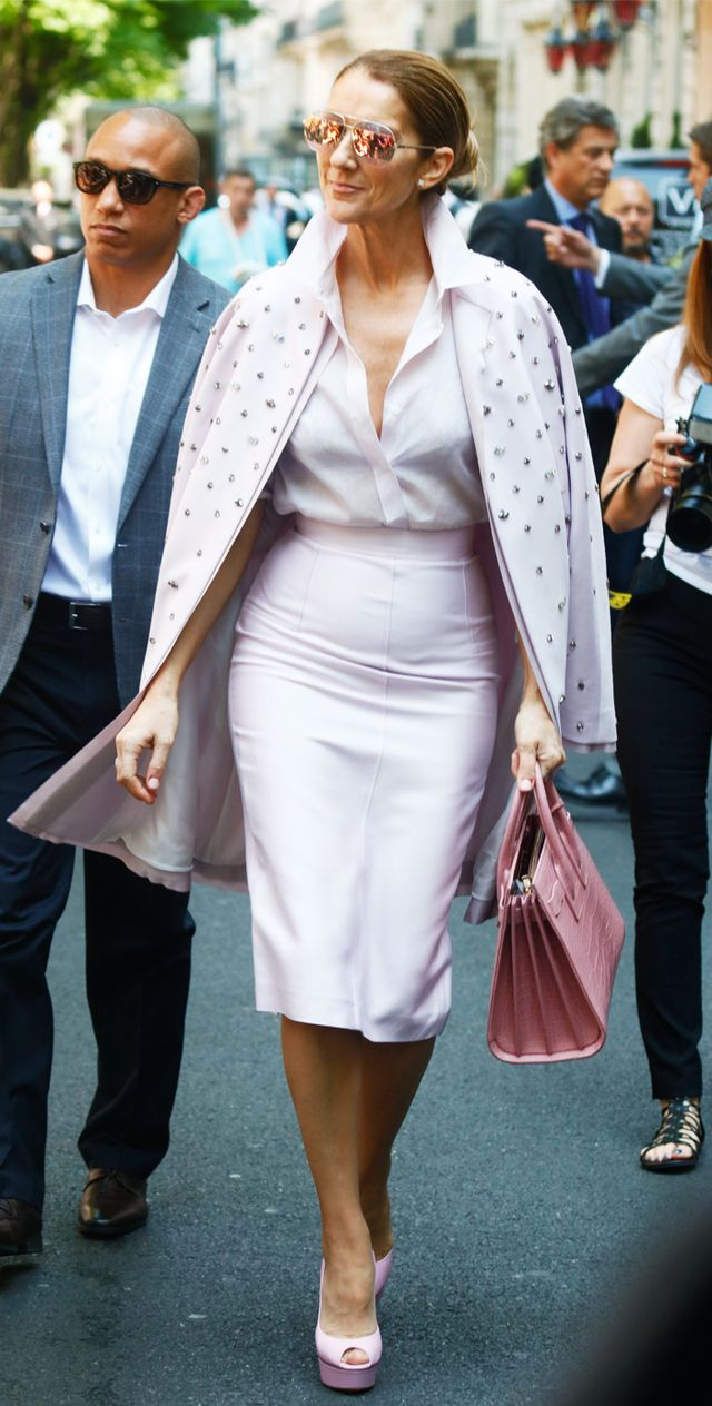 Céline Dion Paris Fashion Week wardrobe: pink suit