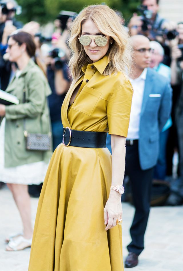 Celine Dion style: Yellow Dior dress