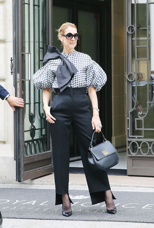 Celine Dion style: gingham top