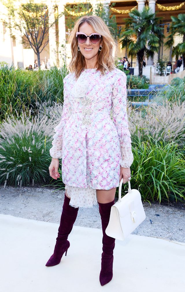 Celine Dion style: pink dress and burgundy boots
