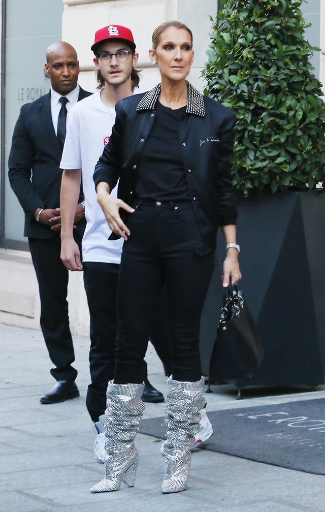 Celine Dion style: Crystal Saint Laurent boots
