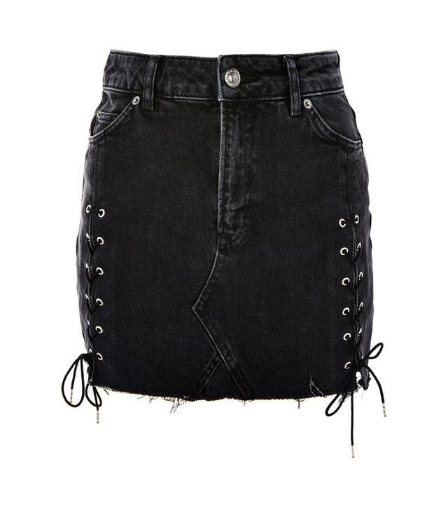 Topshop denim skirt lace up sides