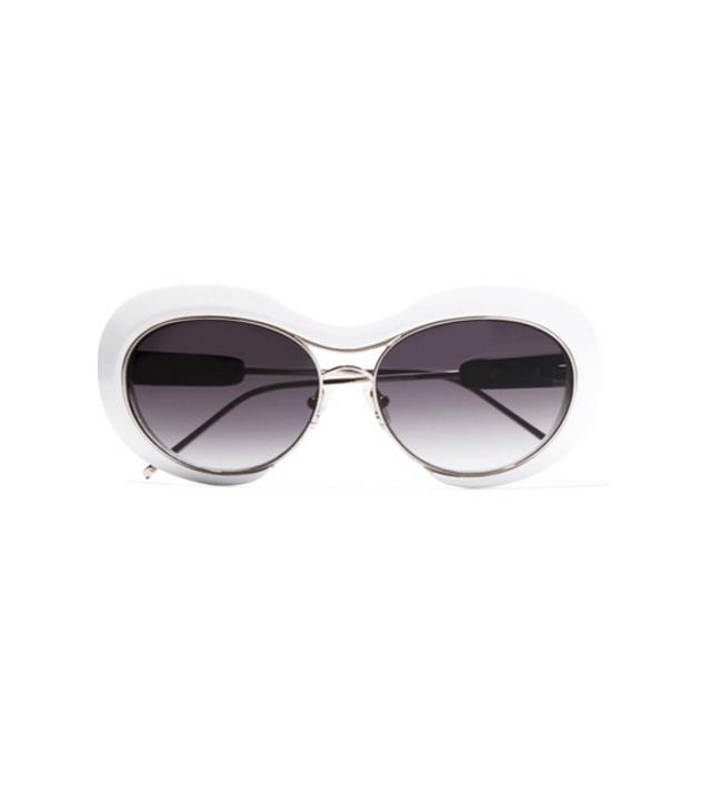 Sacai + Linda Farrow Round-Frame Acetate and Silver-Tone Sunglasses