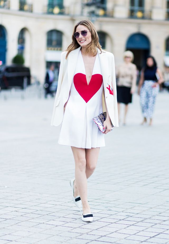 Paris Fashion Week Haute Couture street style: Olivia Palermo heart dress
