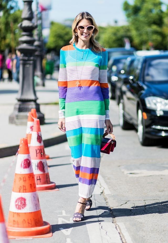 Paris Fashion Week Haute Couture street style: rainbow dress