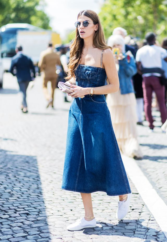 Paris Fashion Week Haute Couture street style: denim dress