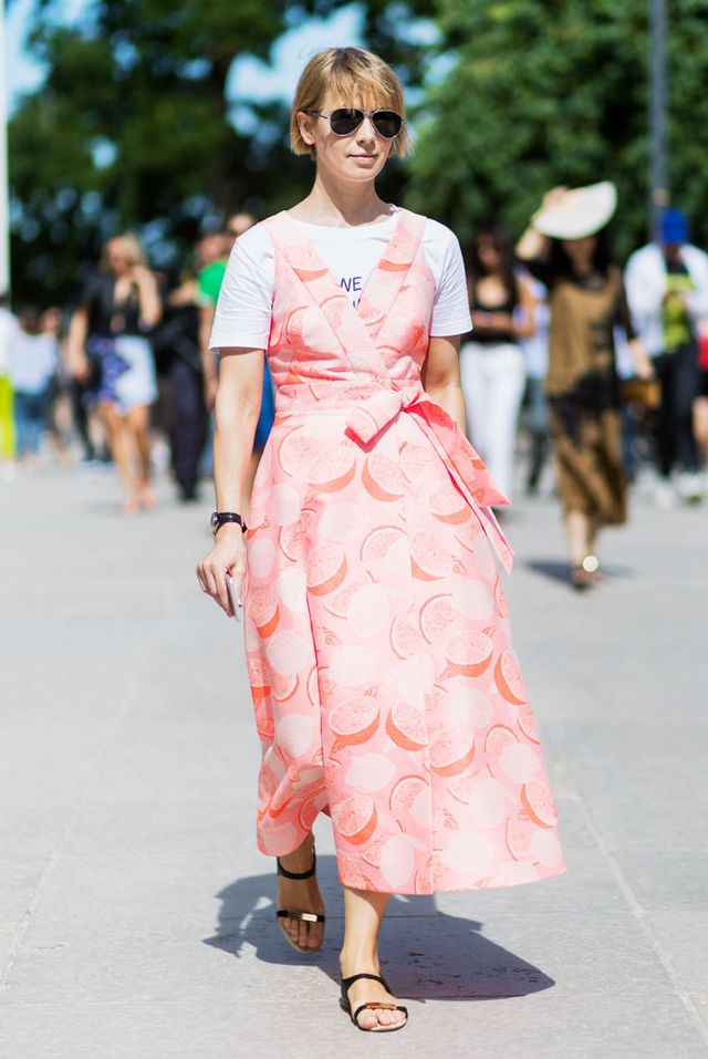 Paris Fashion Week Haute Couture street style: pink dress
