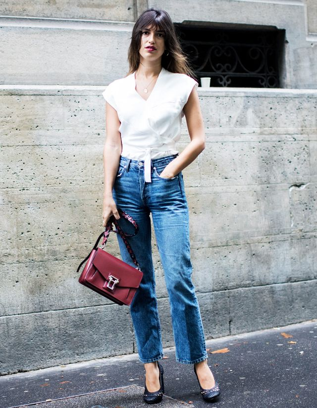 Style du Monde: Jeanna Damas wears a simple, but brilliant, Parisian jeans and white blouse uniform to the 24 Sevres x Proenza Schouler luncheon. Click here to buy her exact...