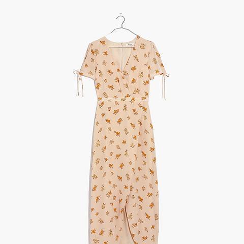 Silk Wrap Maxi Dress in Field Bouquet