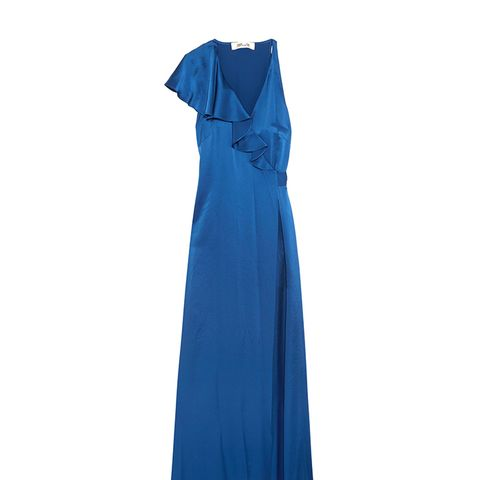 Ruffled Satin Wrap Maxi Dress