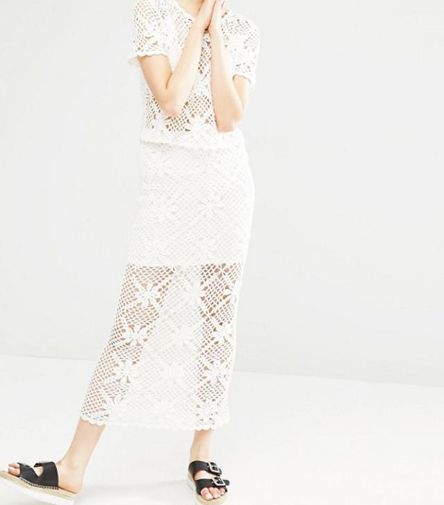 - Baxton Crocheted Cotton Maxi Skirt - Ivory