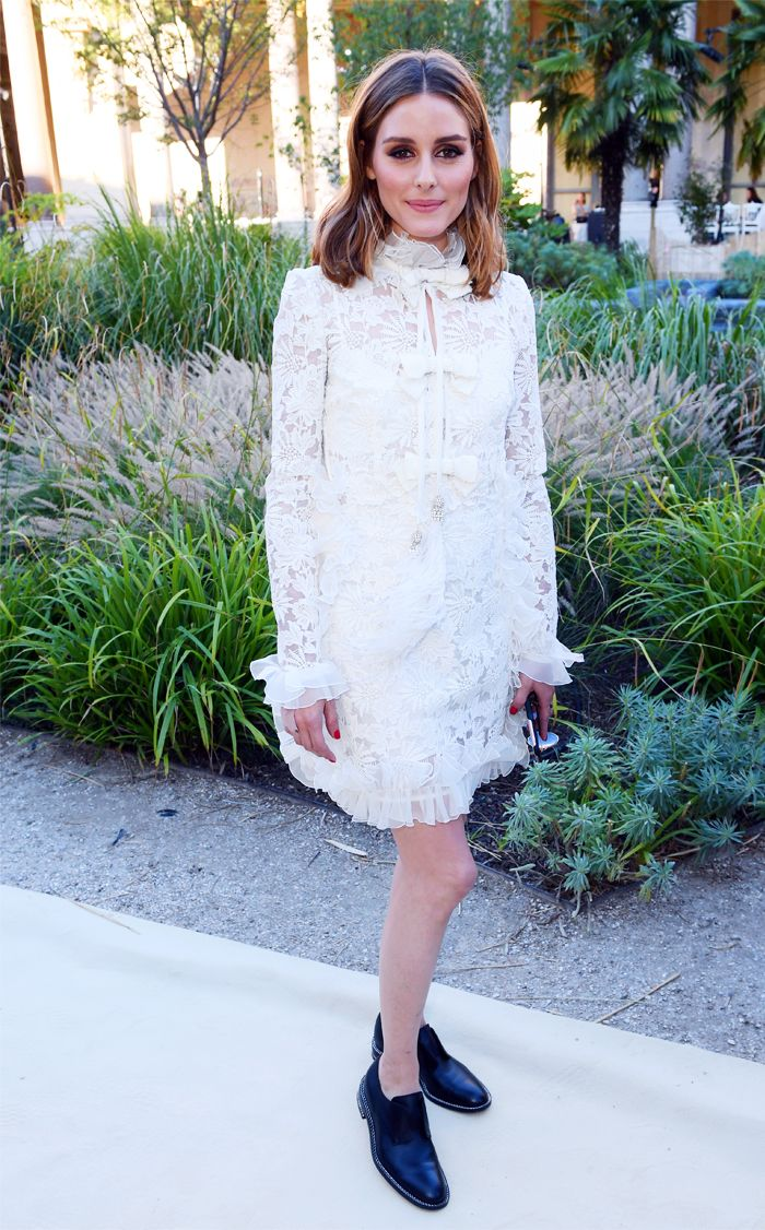 Olivia Palermo white lace dress