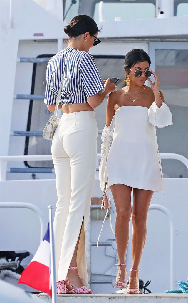 Kourtney Kardashian style: white off-the-shoulder dress