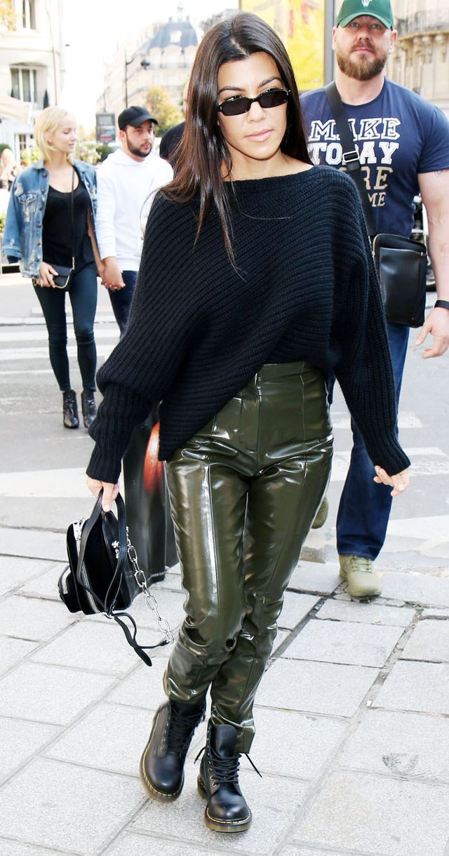 Kourtney Kardashian style: green vinyl trousers