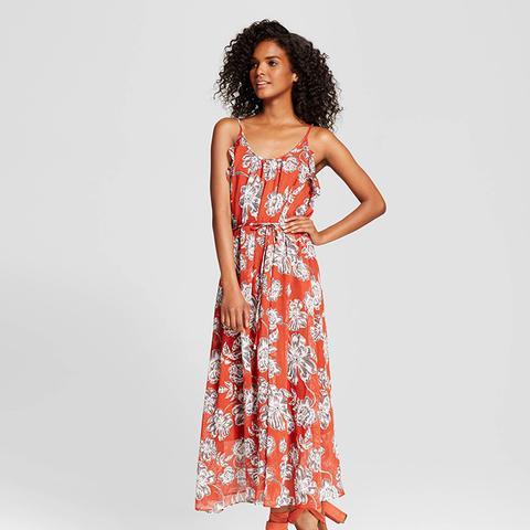 Ruffle Trim Slip Dress