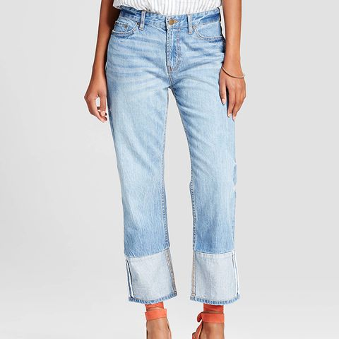 Contrast Cuff Jeans
