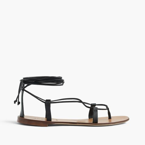 Leather Lace-Up Sandals in Black