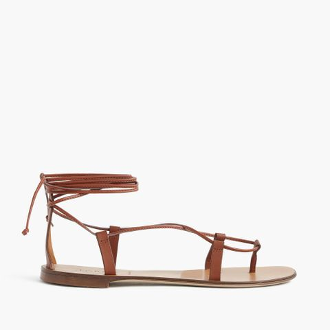 Leather Lace-Up Sandals in Dark Cedar