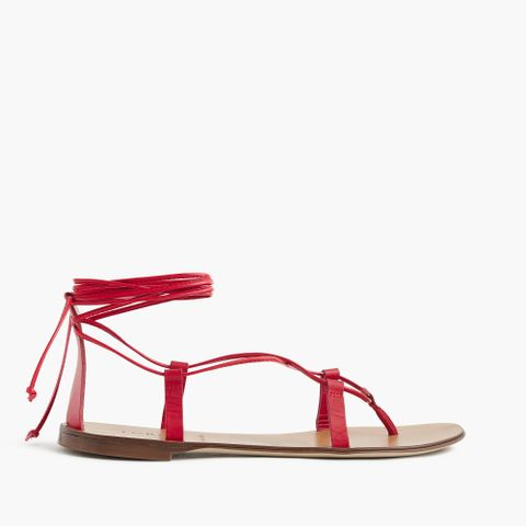 Leather Lace-Up Sandals in Fresh Poppy
