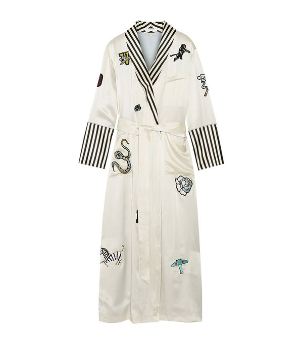 Capability Chelsea Appliquéd Striped Silk-satin Robe
