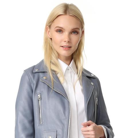 Mock Leather Moto Jacket