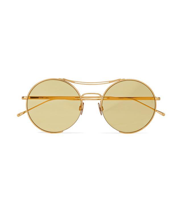Goldie Round-frame Gold-tone Sunglasses