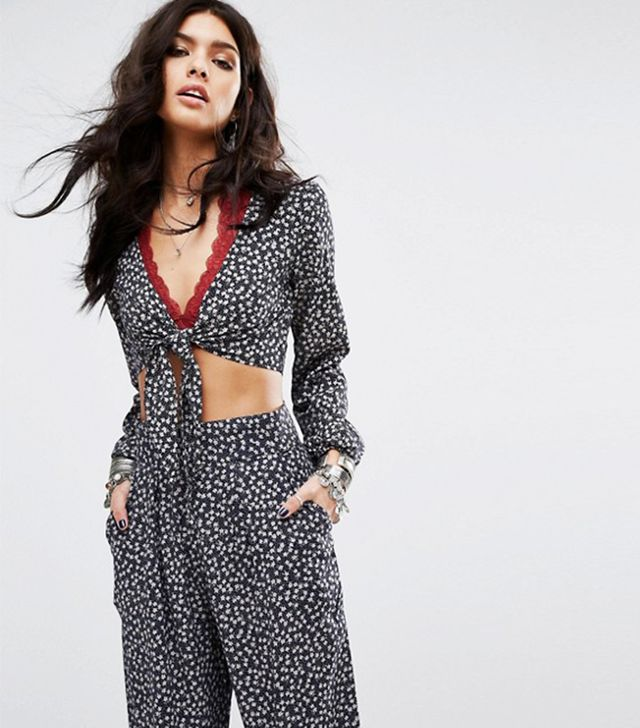 Denim & Supply by Ralph Lauren Tie-Front Bell-Sleeve Cropped Printed Co-Ord Top
