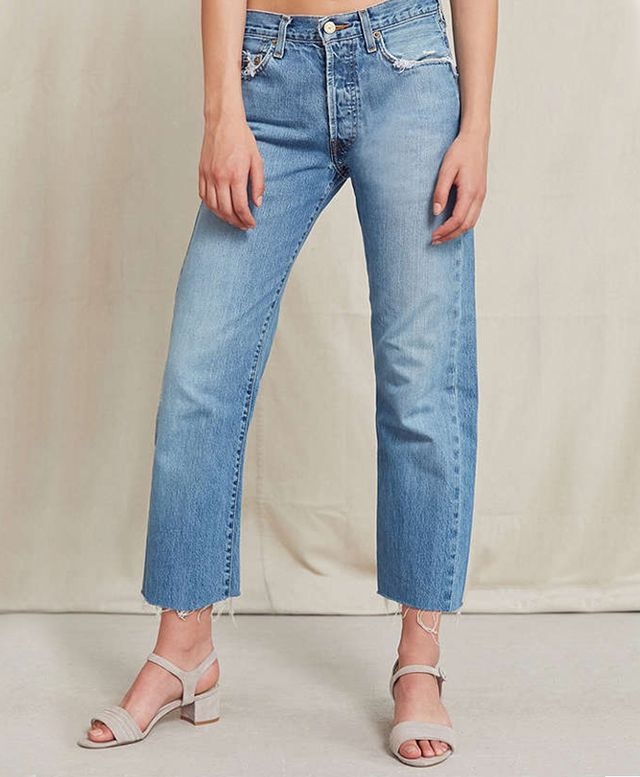 Urban Renewal Recycled Frayed Cropped Levi's Jean