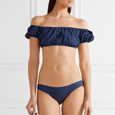 Leandra Off-the-Shoulder Seersucker Bikini