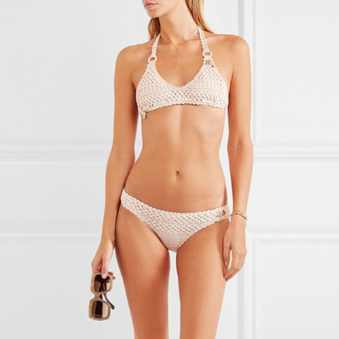 Embellished Crocheted Stretch Cotton-Blend Bikini