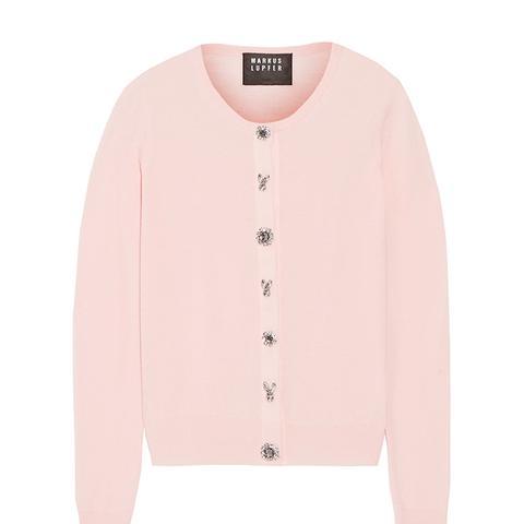 April Crystal-Embellished Merino Wool Cardigan