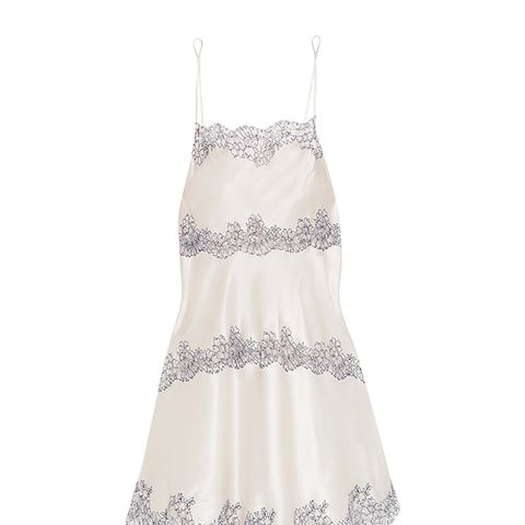 Chantilly Lace-Trimmed Silk-Blend Satin Chemise