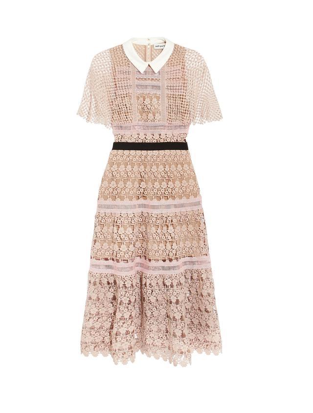 Guipure Lace Midi Dress