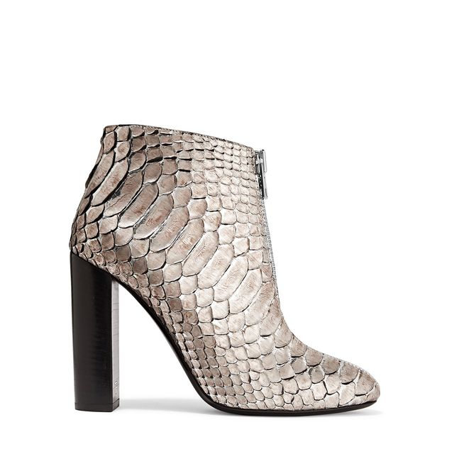 - Metallic Python Ankle Boots - Silver
