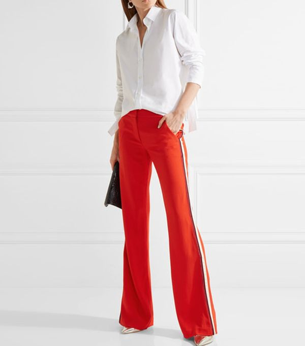 Pipeline Striped Crepe Flared Pants