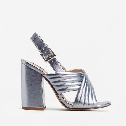 Metallic Crossed Sandals