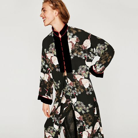 Long Contrasting Kimono