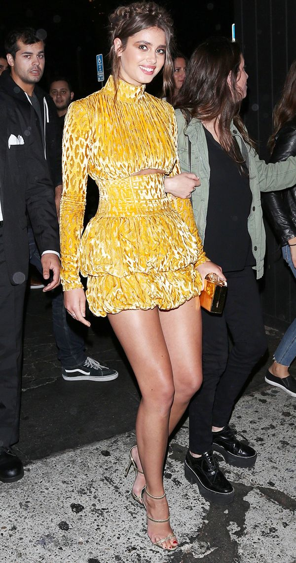 taylor hill style yellow velvet dress