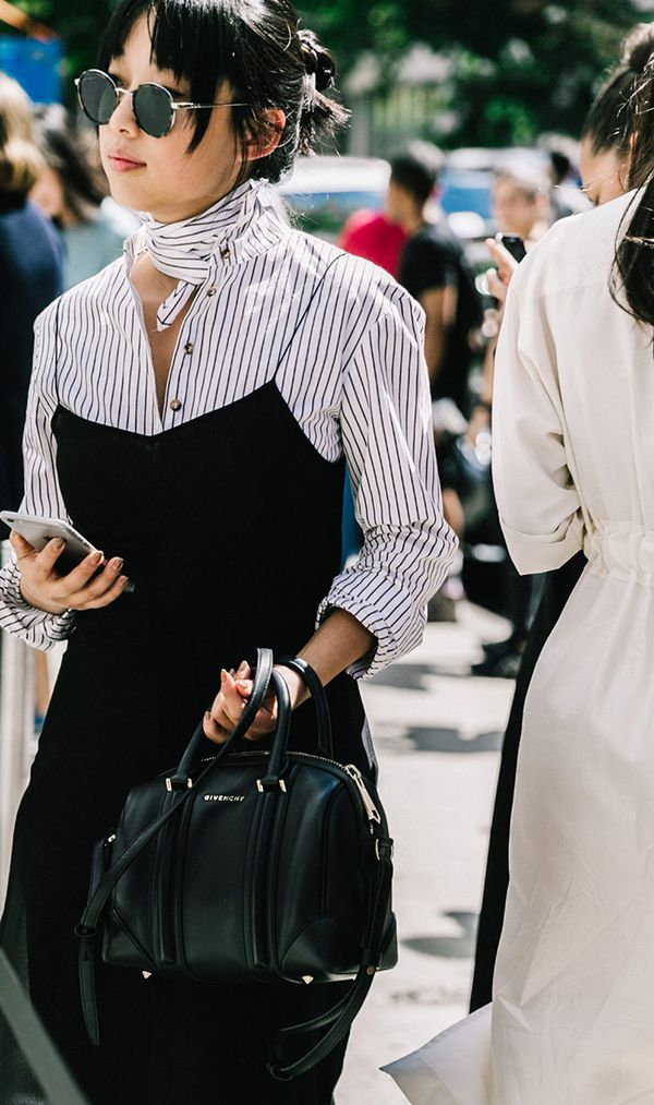 Want to wear that slip dress to the office? Just layer a button-down underneath and you're good to go.