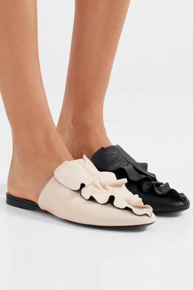 Ginevra Ruffled Leather Slippers