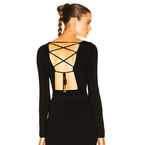 Long Sleeve Lace Up Back Crop Top