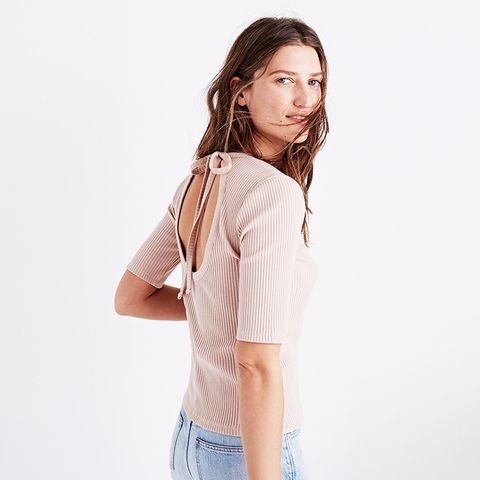 Ribbed Open-Back Top
