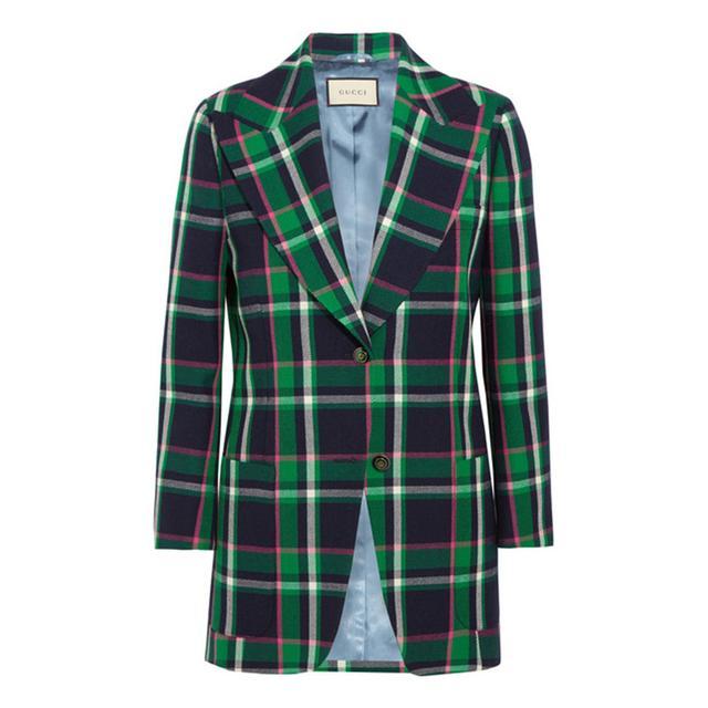 Gucci Embellished Tartan Wool Blazer