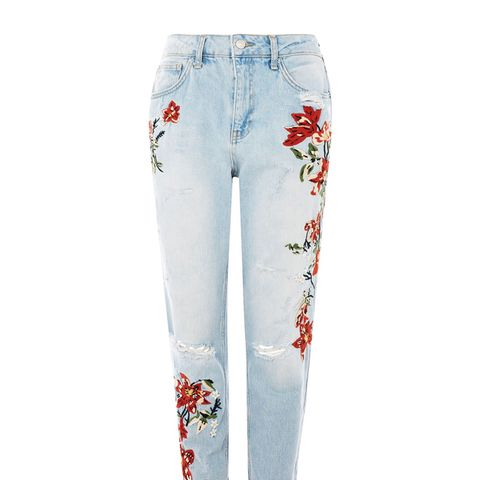 Flower Embroidery Bleach Denim Mom Jeans