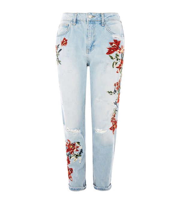 Embroidered jeans: Topshop Flower Embroidery Bleach Denim Mom Jeans