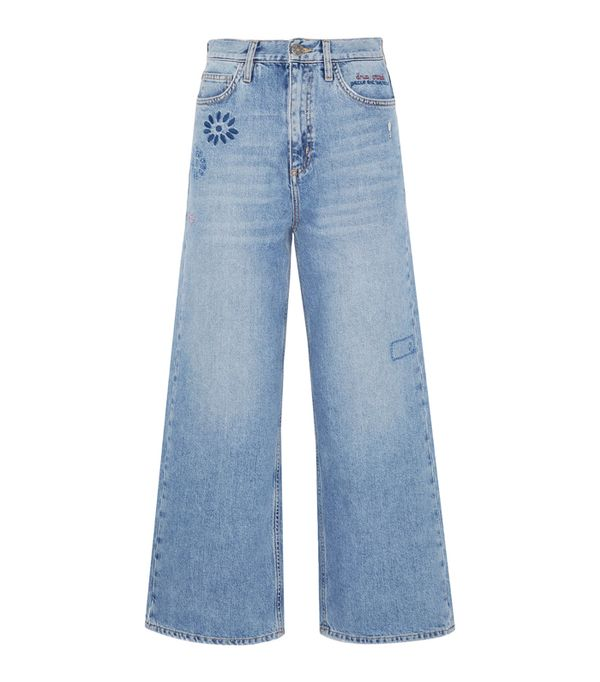Embroidered jeans: M.i.h. Jeans Caron Embroidered Cropped Mid-Rise Wide-Leg Jeans