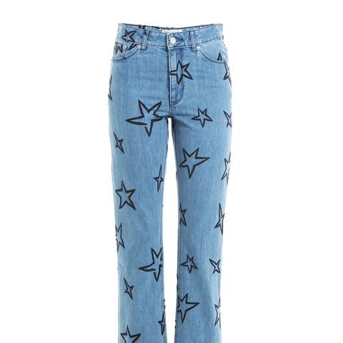 Star Embroidered Cropped Jeans