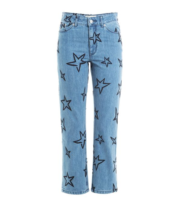 Embroidered jeans: Être Cécile Star Embroidered Cropped Jeans