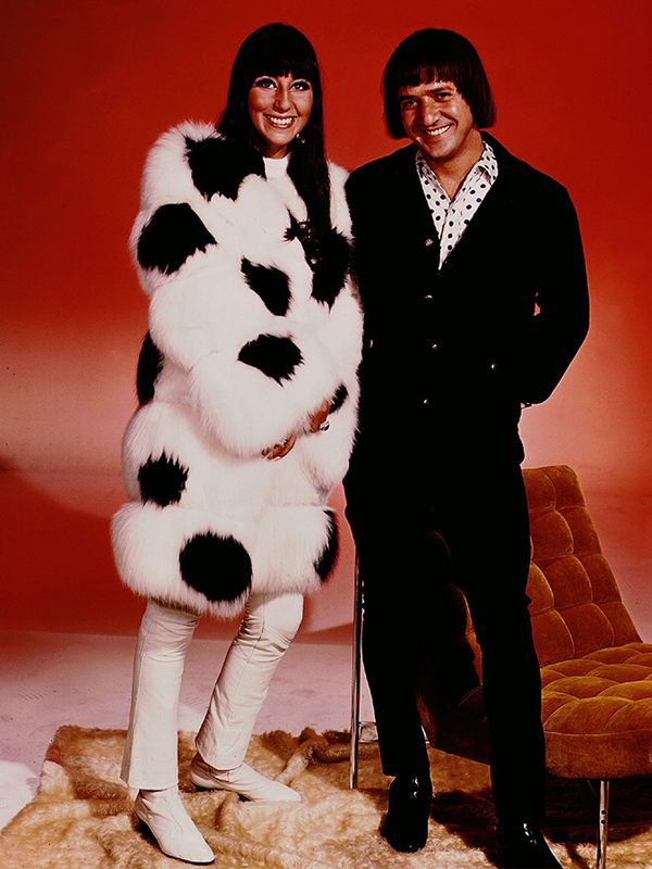 Style Notes: Circa 1970, Sonny had some pretty questionable haircuts. Cher, on the other hand, had straightened locks, mod boots and plenty of striking outerwear.